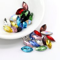 Wholesale Synthetic Jewelry Stone - 3x6mm Navette Small Jewelry Stone Crystal Glass Point Back Fancy Stone 100pcs bag (10 Different Color Available)