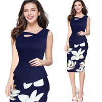 Wholesale Womens Office Cotton Shirts - Womens Summer Dress Floral Print Solid Patchwork Button Casual Work Sleeveless Elegant Chic Bodycon Office Pencil Dress