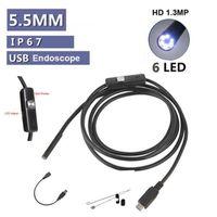 Wholesale Usb Mini 5m - Mini 5.5mm 5M USB Endoscope IP67 waterproof Borescope Micro Camera Snake 480P OTG Android phone Laptop PC