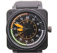 Wholesale Bell Calendar - 2017 Wholesale BR-01 AIRSPEED NEW BELL AVIATION FLIGHT MENS LIMITED EDITION Watches BLACK RUBBER STAINLESS STEEL ORANGE YELLOW BLUE