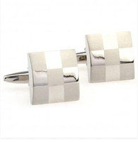 Wholesale NEW Square check cuff links shirts business suit men cufflinks French metal cuffs links