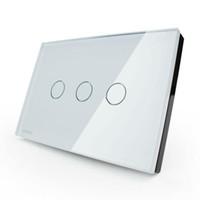 kristal cam ışık anahtarı toptan satış-LIVOLO Anahtarları ABD / AU standart VL-C303DR-81/82 Kristal Cam Panel Dijital Dokunmatik Ekran Dimmer Uzaktan Kumanda Ev Duvar Işık Anahtarı + Uzaktan