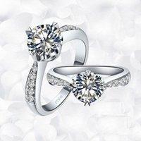 ingrosso anello stile giapponese-Di lusso 1 ct taglio cuscino sintetico anelli di fidanzamento con diamanti per le donne in oro placcato anello nuziale esagerato anello Giappone / stile coreano Royal Cou