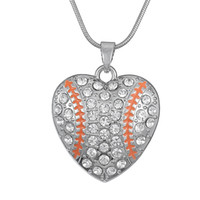 Wholesale Letter Initials Word Pendant - Crystal Heart Shaped Baseball Silver Plated Word I Love Baseball Softball Heart Orange Crystal Connector Pendant Sports Necklace