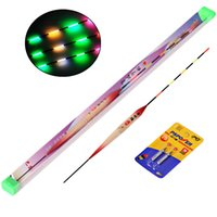Wholesale Night Bobbers - Wholesale- 3pcs Lot Wood Fishing Float Electronic Luminous Floats with Battery Glow at night Bobbers For Rock Saltwater Night Fishing