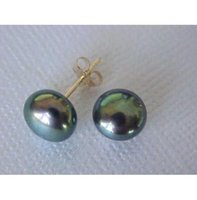 Wholesale Australia South Sea Pearls - huge 11-12mm perfect black Australia south sea pearl earring 14K GOLD