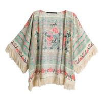 Wholesale Bat Winged Tops - Wholesale- Women Floral Print Cloth Tassels Shawls Coat Short Bat wing Cardigan Tops Blouse New Sale