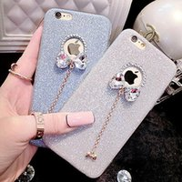 Wholesale Iphone 5s Bow - luxury diamond glitter bow pendant soft TPU phone case for iphone7 iphone 7 6 6s plus 5s Rhinestone shinning cover case DHL free GSZ280