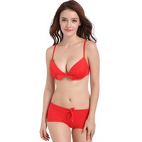 Wholesale Swimwear Steel Push Up Triangle - Women 2 Pcs Push Up Steel Care Bikini Triangle Top Brazilian Flat Bottom Trunk Swimwear Padding Bikini Set Red DF15 + 18