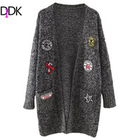Wholesale Open Front Color Cardigan - Wholesale-DIDK Womens Cardigan Sweaters Ladies Autumn Long Sleeve Marled Knit Patch Open Front Long Cardigan With Pockets
