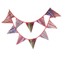 Vente en gros- Retro 3.3m Gypsy Style Polyester Fabric Bunting Pennant Drapeaux Banner Garland Baby Shower Wedding Home Party Décoration DIY