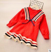 Wholesale Velvet Sweater Dress - Big Kids sweater dress preppy style girls stripe lace-up navy collar princess dress winter children Bows velvet thicken falbala dress R1090