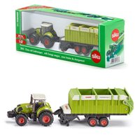 Wholesale 87 Toy - Free Shipping Siku 1:87 Scale Diecast Toy Car Model Claas Tractor and Trailer Educational Collection Toy for children Gift
