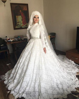 Wholesale White Ball Dress Sash - Vintage Muslim Bridal Ball Gown High Neck Big Puffy Skirt White Lace Modest Long Sleeve Muslim Wedding Dress with Beading Sash