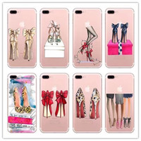 Wholesale Silicon For Shoes - Girls Gorgeous High Heel Shoes Silicon Phone Cover For iphone 6 6s 5 5s se 7 7Plus 8 8plus Transparent Clear Phone Case