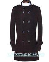 ingrosso uomini di trincea marrone-Collo in piedi cappotto di lana casual uomo trench soprabito cappotto di cachemire uomo casaco masculino inverno inghilterra marrone nero 9XL