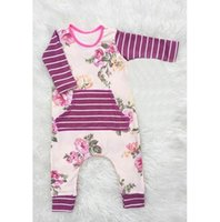 Wholesale Infant Long Sleeve Striped Romper - Wholesale Boys Girls Baby Onesies Long Sleeve Jumpsuits Flowers Striped Toddler Rompers Spring Autumn Toddler Cotton Romper Infant Clothes