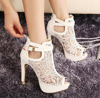Wholesale Pierced Platform - Fashion Sexy High Heel Sandals Elegant Lace Pierced Women Sandals White Black Platform Sandal Summer Women Shoes Size 35-40
