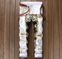 ingrosso pantaloni gialli per gli uomini-All'ingrosso - Pantaloni da uomo stile americano europeo Pantaloni casual di marca di lusso dritti Dipinta stampa gialla Skinny slim mens Pantaloni da discoteca