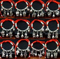 ordem pulseira vermelha venda por atacado-Frete grátis Miao prata artesanal de jóias de prata do zodíaco pulseira de corda vermelha FB217 ordem da mistura de 20 peças muito Charme Pulseiras