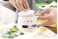 Wholesale 2017 new hot sales ceramic cup Couple style With a lid The cup surface has a lovely expression
