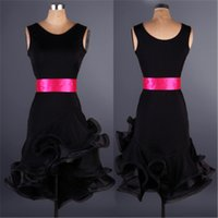 Wholesale tango dresses competition - 7Color 2017New Latin dance dresses Adult girls Sexy sleeveless rumba Sasa tango samba Ballroom costume competition Latin exercise clothes