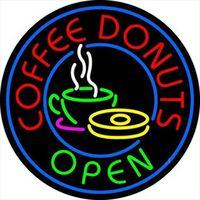 néon, café, sinais venda por atacado-COFFEE DONUTS OPEN Sinal de Néon Real Bar Tubo De Vidro Loja de Publicidade de Negócios de Decoração Para Casa Arte Exibição de Presente de Metal Frame Tamanho 24''X20 ''