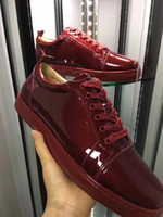 Unisex spike denim - Elegant High Top Sneakers Red Bottom Shoes Women Men Trainers Wine red Patent Leather Junior Lace up Spikes Red Sole Luxury Party Dress Shoe