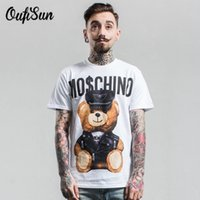 Wholesale Men S T Shirt Leather - Wholesale- 2017 Tide brand Men's T shirt summer High Street trend Europe United States bear leather toy Printed Tee Masculino tops clothing