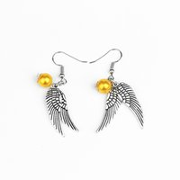Wholesale Antique Silver Earring - 2 colors Golden Snitch Earrings Drop Earrings Antique Bronze&Silver Wings for Women statement jewelry movie jewelry for fans 170250