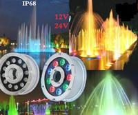 brunnen führte 18w großhandel-Unterwasserbrunnen-Licht LED 6W 9W 12W 15W 18W IP68 LED heller Swimmingpool Lampen RGB LED Brunnen beleuchtet 12V 24V 110V 220V LLFA