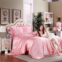 Wholesale Silk Bedding Set Twin - Wholesale-2016 Hot Silk Quilt Black Satin Sheets Bed Linen Cotton Solid Satin Duvet Cover Set twin King Size Bedsheet 4pcs of Bedding Sets