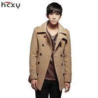 Wholesale winter trenchcoat - Wholesale- HCXY brand 2016 Autumn & Winter Windbreaker Male Slim fit Men 's Wool Coat Overcoat Trenchcoat casual simple double-breasted