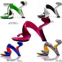 Wholesale silver platform wedge heels - Koovan Women Shoes 2017 Summer New Fashion Bottomless Snake Women Heels Platform Sandals Shoes Woman Wedding Shoes Women Pumps