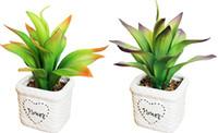 weiße topfpflanze künstlich großhandel-Kostenloser Versand Künstliche Keramik Bonsai Weiße Töpfe Mit Lebendige Dynamische Blätter Pflanzen DIY Kleine Pflanzer Sukkulenten Decor Ornamente