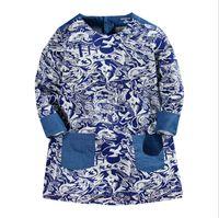Wholesale Blue White Dress Porcelain - Girls long sleeve dress 2017 New blue and white porcelain Children Princess Dress Cotton Autumn Dresses Causal Kids Dress C1714