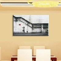 Wholesale Huge Abstract Oil Painting - Fashion 2017 New Product HUGE BANKSY There Is Always Hope,Art Life Is Short Chill The Duck Oil Wall Painting Abstract Wall Art Decor Christm