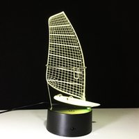 Wholesale Sailboat Card - 3D Sailboat Illusion Lamp Night Light DC 5V USB Powered AA Battery Wholesale Dropshipping Free Shipping