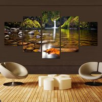 Wholesale Waterfall Art - Modern Unframed 5 Panels Waterfall Landscape Paintings HD Home Decor Canvas Art Modular Pictures Painting On The Wall