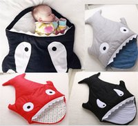 Wholesale Cute Infant Baby Bags - Cute Soft Winter Cotton Infant stroller Baby Sleeping Bag Sharks Newborns Bedding Swaddle Blanket sleepsacks warm sack