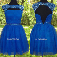 Wholesale Silver Special Occassion Dresses - Real Image Short Cap Sleeve Homecoming Dress High Quality Blue Tulle Backless Special Occassion Dresses Crystal Beaded Sexy Back Party Gown