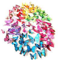 ingrosso decorazione della camera di farfalle-Adesivi murali Decorazione farfalla 3D Adesivi murali rimovibili Farfalle per soggiorno Adesivi farfalla Decorazione domestica 1 lotto = 1 set = 12 pezzi