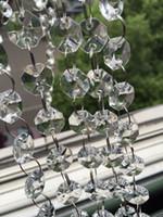 14mm kristall octagons großhandel-66 FT Kristall Garland Stränge 14mm klar Acryl Kristall Achteck Perlen Kette Hochzeit Manzanita Baum Hängende Hochzeitsdekorationen