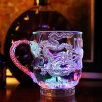 Wholesale Light Bars China - LED Light Luminescence Glass Wine Into The Water Bright Beer Mug Luminous Cup Colorful Bar Cups The Dragon Mugs Individual 5 5jc
