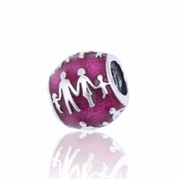 Wholesale Violet Movie - 2017 European Diy Fit Pandora Bracelet Authentic 925 Sterling Silver Family Silver Charms With Translucent Violet Enamel For Jewelry Making