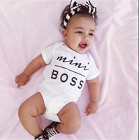Whole Size bloomers sleeves - Baby Cotton MINI BOSS Rompers Boy Girl Kids Bodysuit Onesies Infant One Piece Short Sleeve Jumpsuits Fashion Children Bloomers Clothes