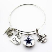 Wholesale I Love Football - New Arrive Adjustable I Love Football Expandable Bangle Bracelets for 18mm snap button bracelet 10pcs lot
