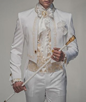 Wholesale Groomsmen Clothing White - New Style White With Gold Embroidery Groom Tuxedos Groomsmen Men Blazer Wedding Suits Prom Clothing (Jacket+Pants) G1093