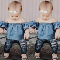 Wholesale Styles Baby Doll - Baby Girl Fashion Clothes Kids Denim Strapless Top Toddler Doll Ruffled Collar Blouse Newborn Top Lovely Infant Clothing Set Hot Selling