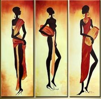 Wholesale Africa Figure - The african women in robe! hand painted africa figure oil painting on canvas Drums african girls abstract wall painting GIFT